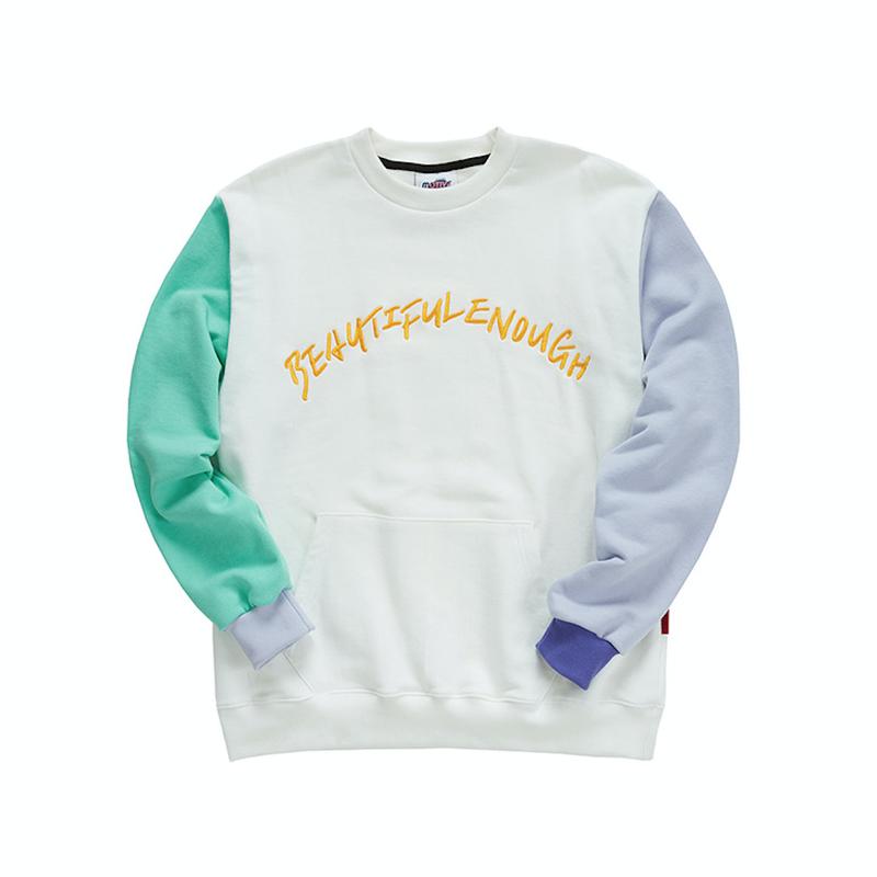 『Motivestreet』カラーエンボポイントスウェットシャツ (Ivory)