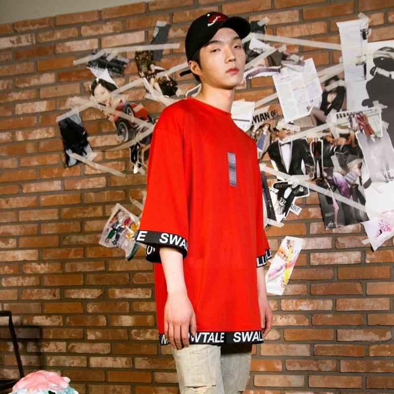 Swallowtale Strapped Mesh T-shirts(Red)