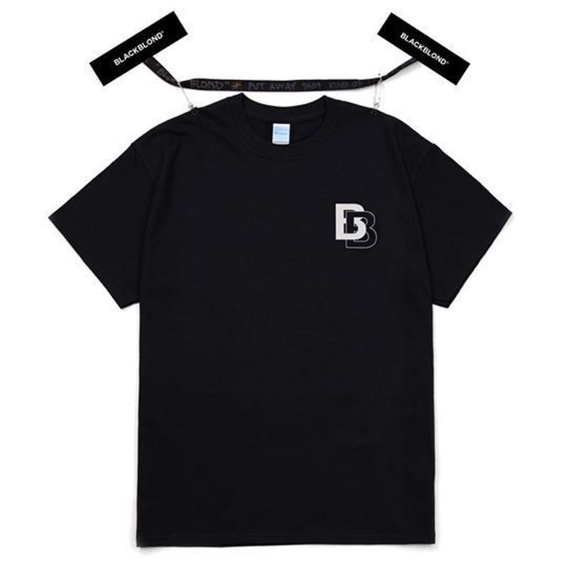 『BLACKBLOND』 ダブル B ロゴショットスリーブ Tシャツ (Black)