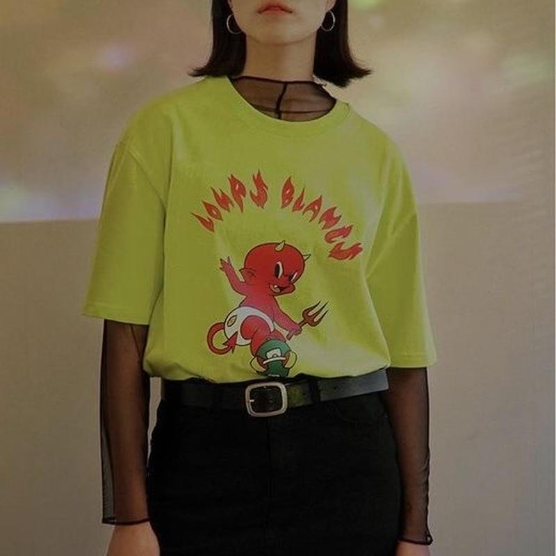 『LOUPS BLANCS』 ホットスタッフスケボーショートスリーブ Tシャツ (Neon)
