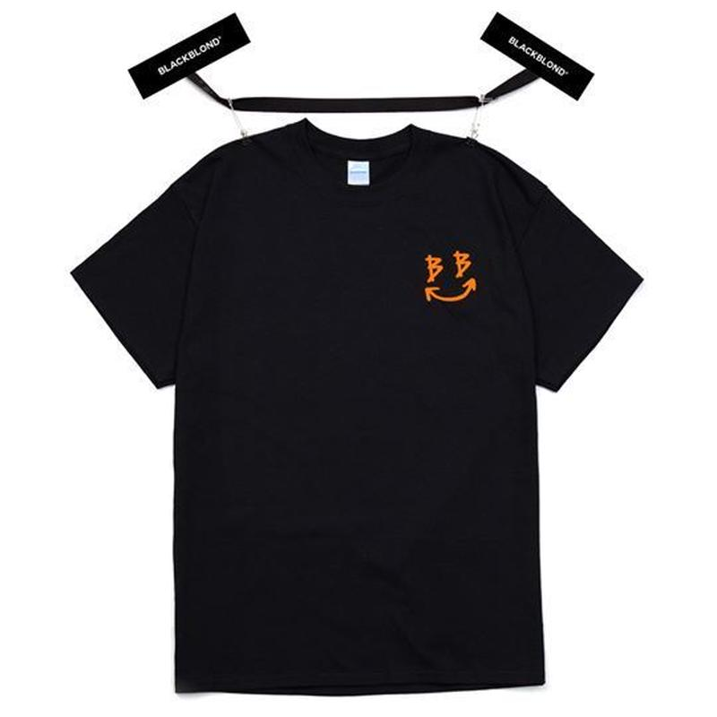 『BLACKBLOND』  スマイルロゴショートスリーブ Tシャツ(Black)