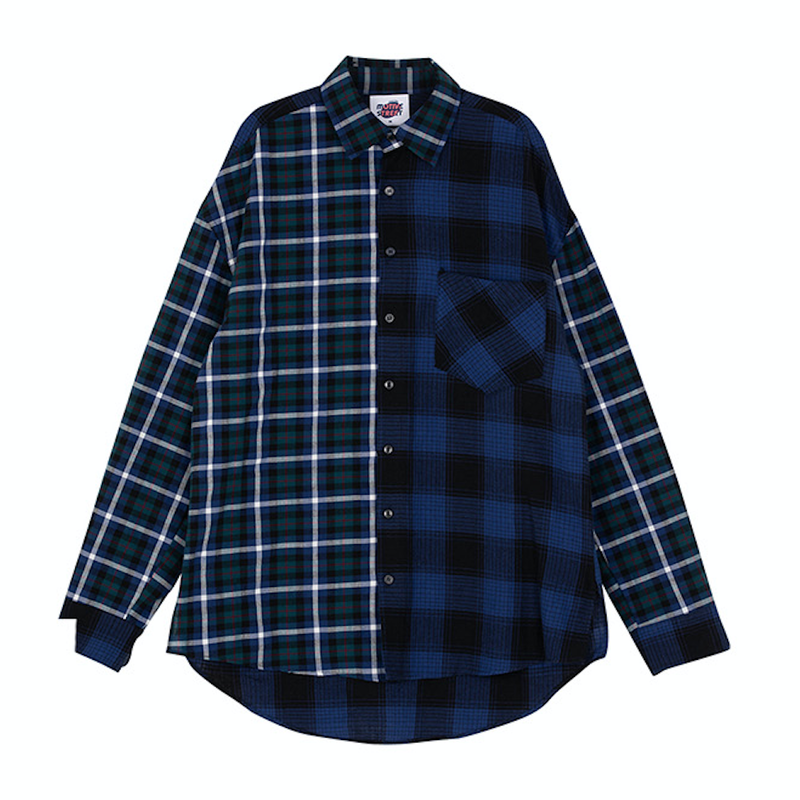 Motivestreet OVERFIT MIX CHECK SHIRTS (Navyblue)