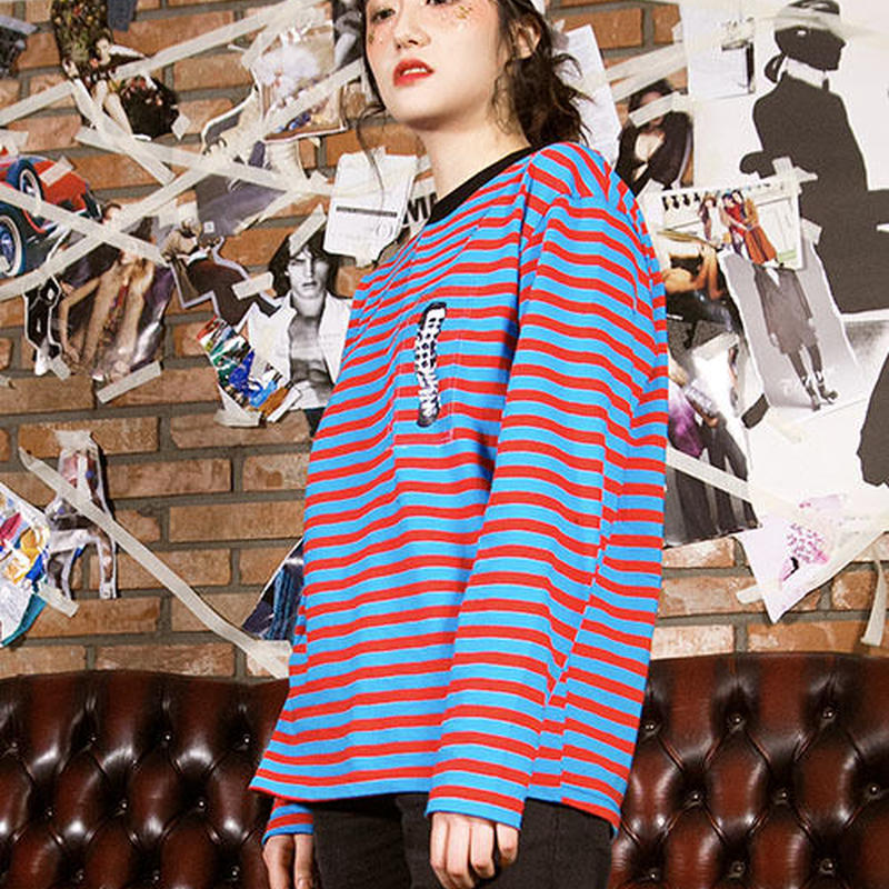 Swallowtale PVC Red/Sky blue Stripe long sleeved T-shirts