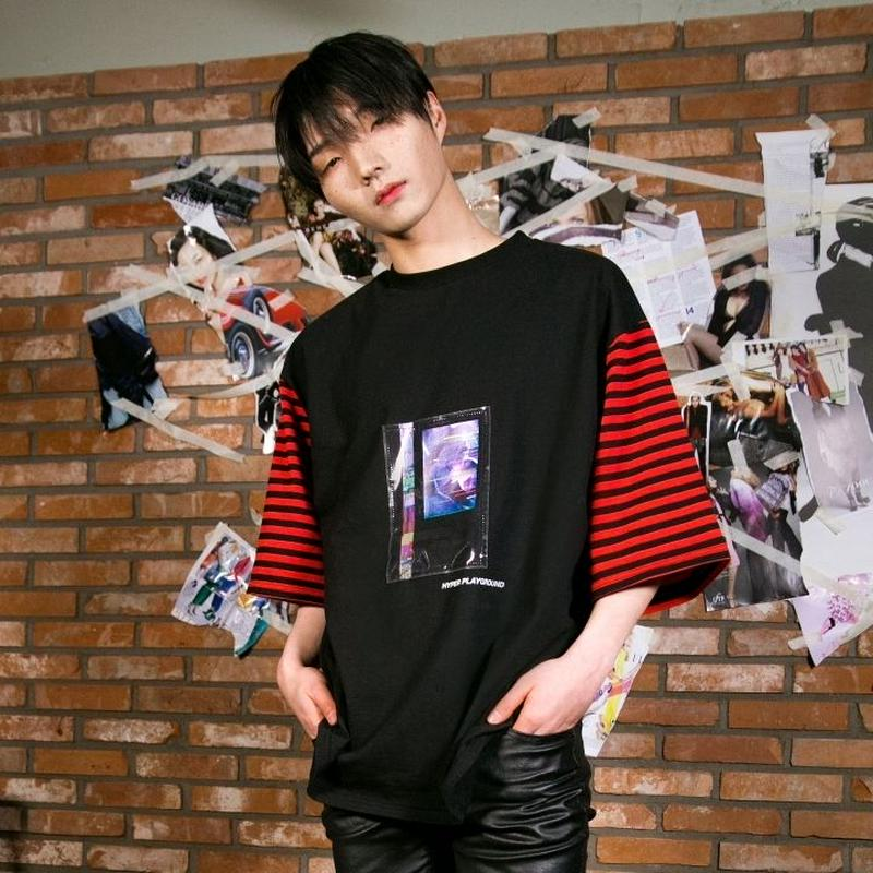 Swallowtale Stripe sleeved T-shirts(Black)