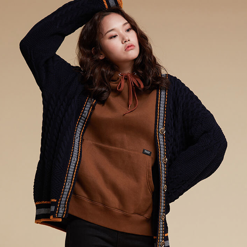 Motivestreet PATTERN MIX CARDIGAN (Navy)