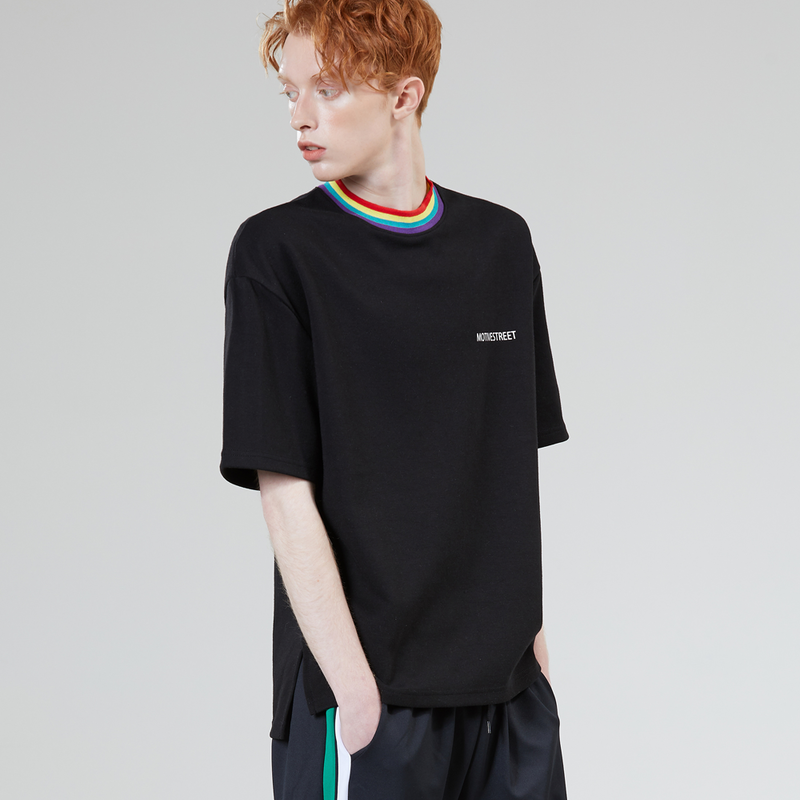 Motivestreet RAINBOW NECK POINT TEE  (Black)