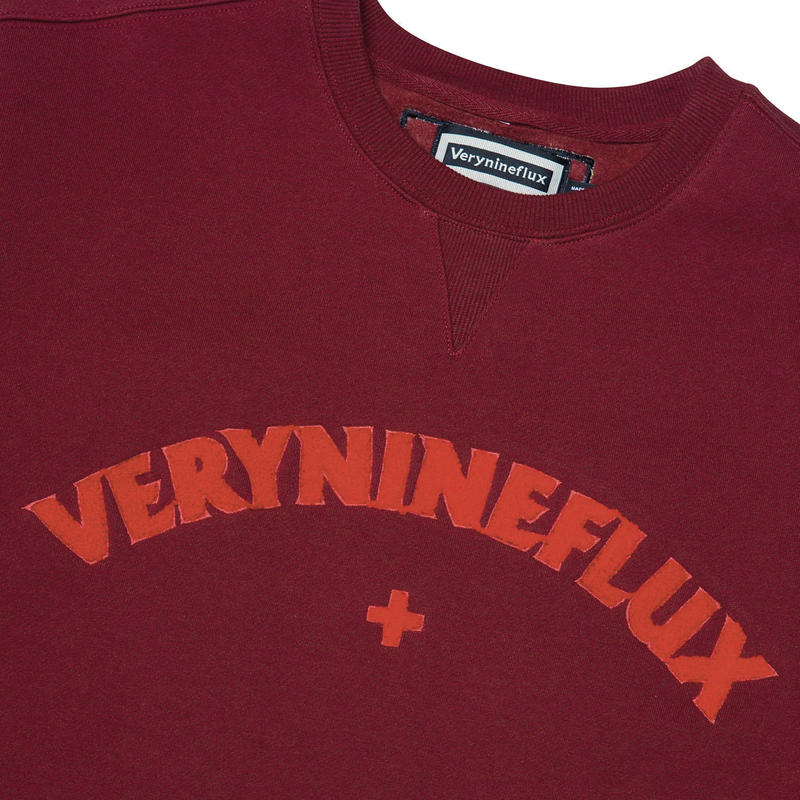 Verynineflux SUNSET CURLY CREWNECK (Burgundy / Beige)