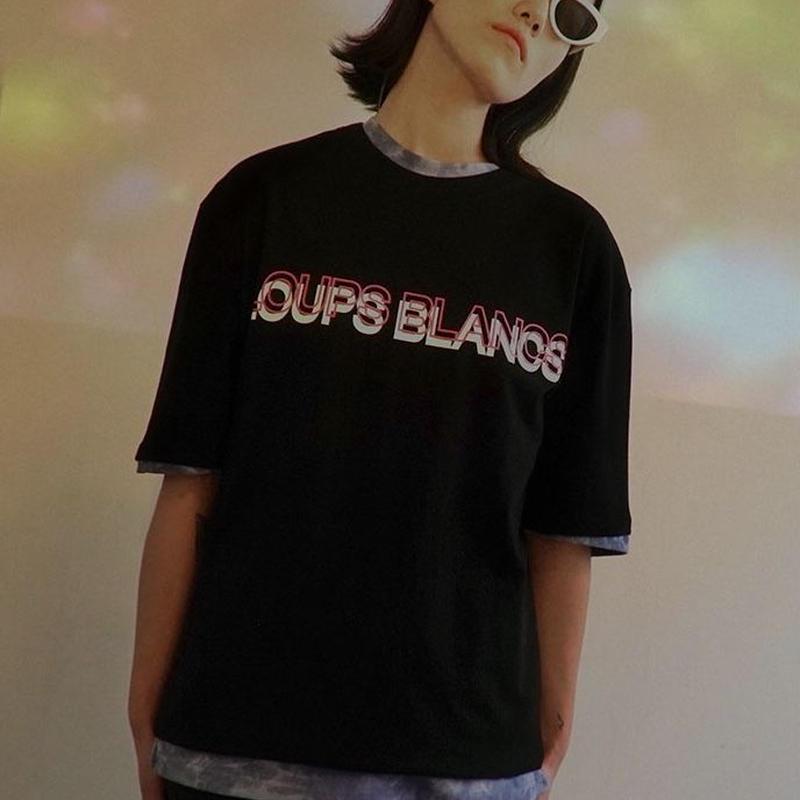 『LOUPS BLANCS』  ダブルロゴグラフィック半袖 Tシャツ (Black)