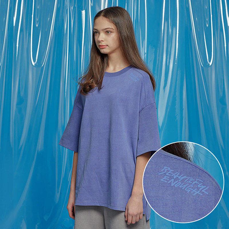 『Motivestreet』 ベンツピグメントオーバーサイズ Tシャツ (Blue)