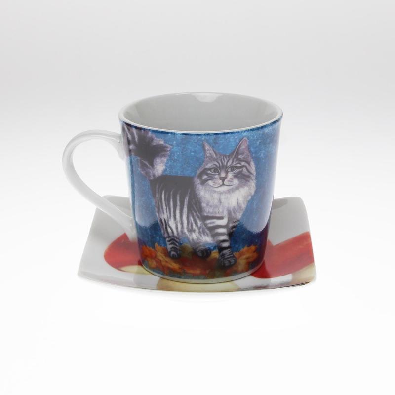 動物シリーズ「ネコ」のカップ&ソーサー