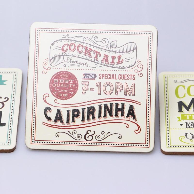 フランス発cocktailシリーズコースター【CAIPIRINHAレッド】