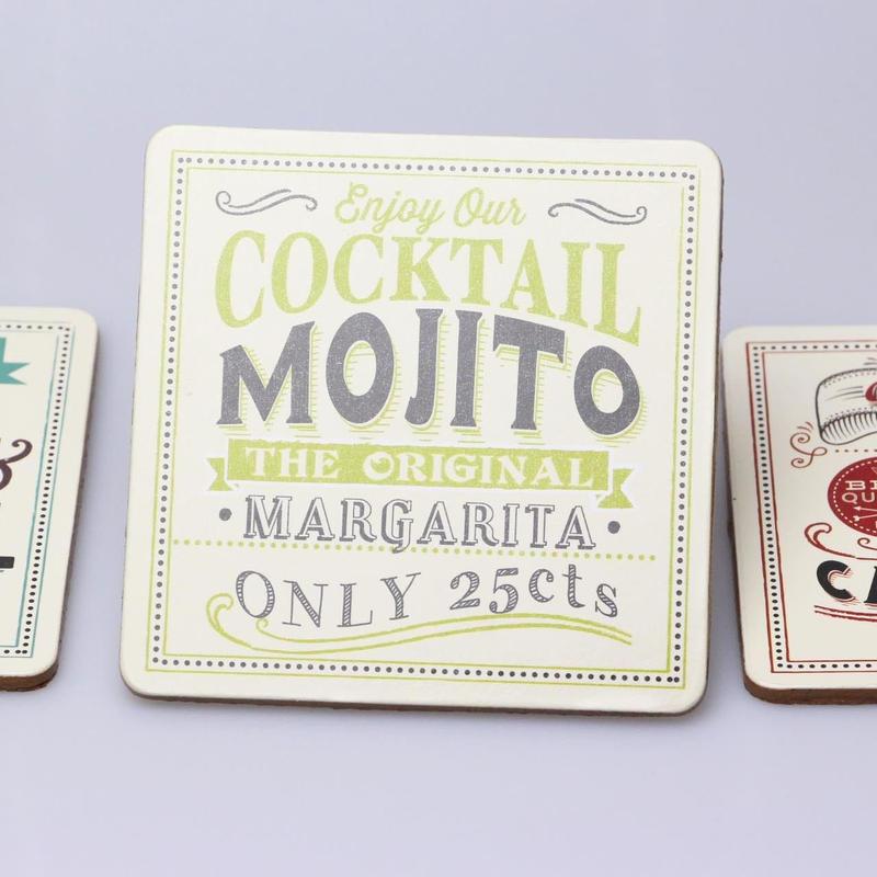 フランス発cocktailシリーズコースター【MOJITOグリーン】