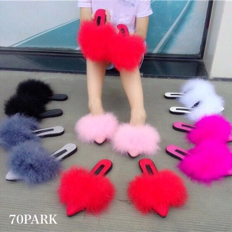 # Feather Flat Slippers フェザー ファー フラット スリッパ  7色 サンダル ミュール
