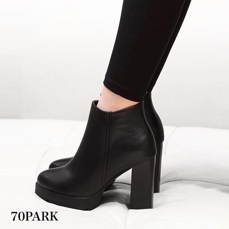 #Chunky Heel Short Boots  太ヒール シンプル ショートブーツ ブラック