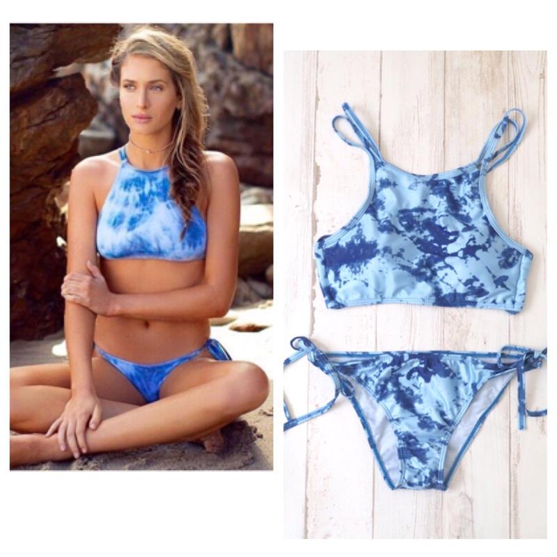 #Blue Tie-dye Bikini -Swimwear- タイダイ柄 ブラジリアン ビキニ ブルー ホルターネック 水着