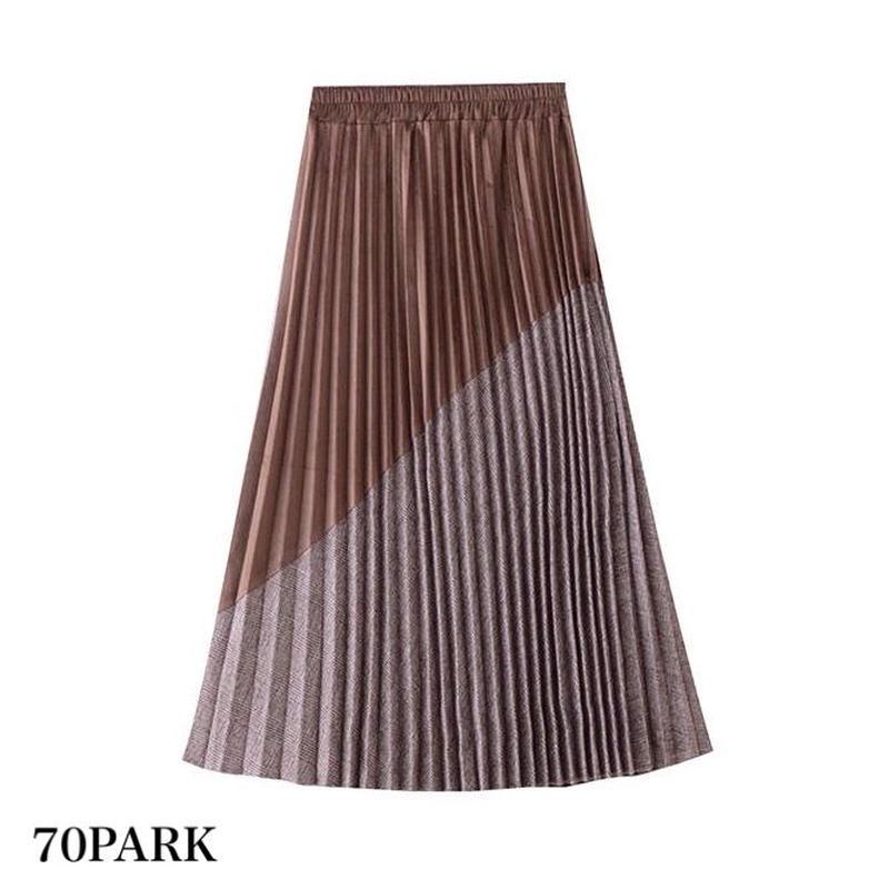 # ベロア × チェック 切り替え 細プリーツ スカート 全2色