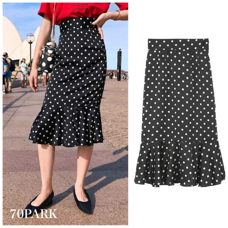 #Polka Dot Mermaid Skirt ドット柄  マーメイドライン ハイウエスト スカート