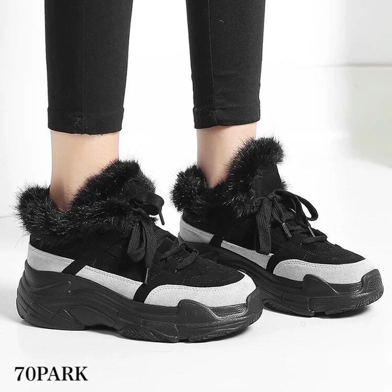 #Fur-Lined Dad Sneakers ファー付 ボリューム ダッドスニーカー 全2色 厚底