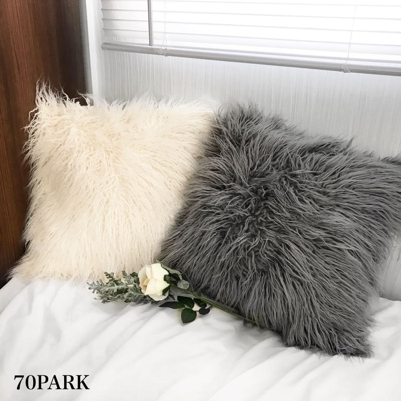 #Faux Fur Cushion Cover  フェイクファー モノトーン クッションカバー 全2色 グレー