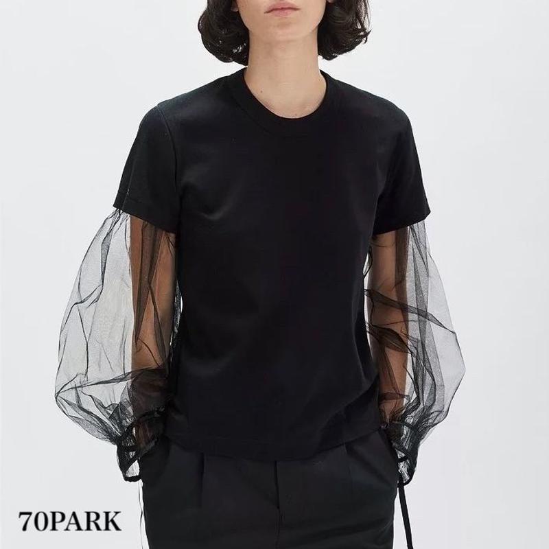 #Mesh Layered t Shirt  長袖 シースルー レイヤード風 Tシャツ ブラック
