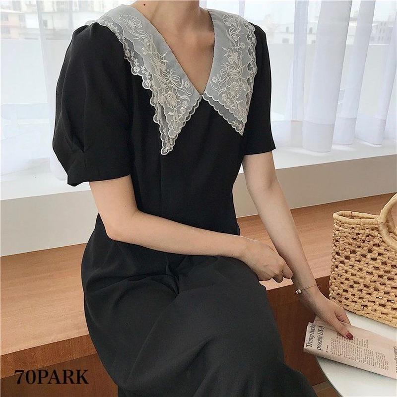 #Lace Collar Black Dress  襟レース ブラック ロング ワンピース