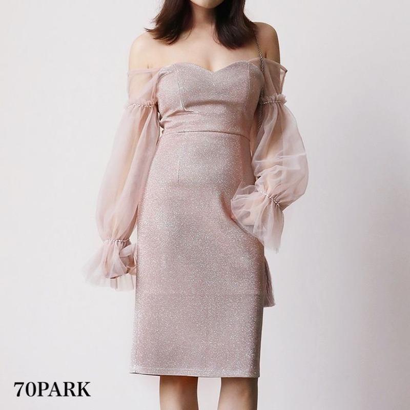 #Puff Sleeve Glitter Dress ボリューム袖 グリッター タイト ワンピース パーティー