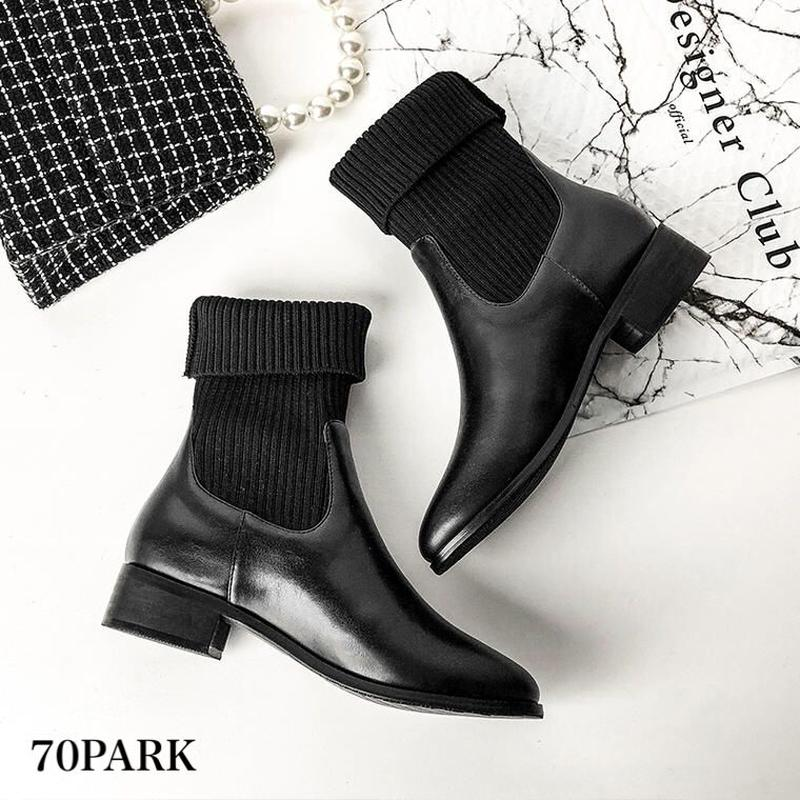 #Knit Socks Boots コンビ素材 ローヒール ソックス ブーツ ブラック