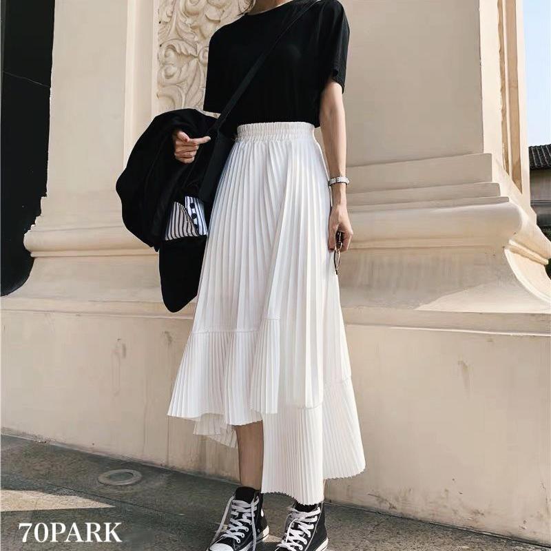 #Unbalance hem Pleated Skirt  アンバランスヘム 細プリーツ スカート 全3色