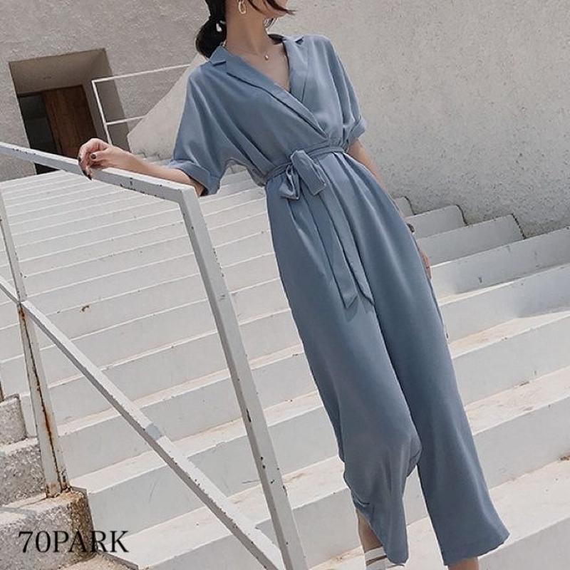 #Half Sleeve Jumpsuit  半袖 リボン ワイド オールインワン 全3色 パーティー
