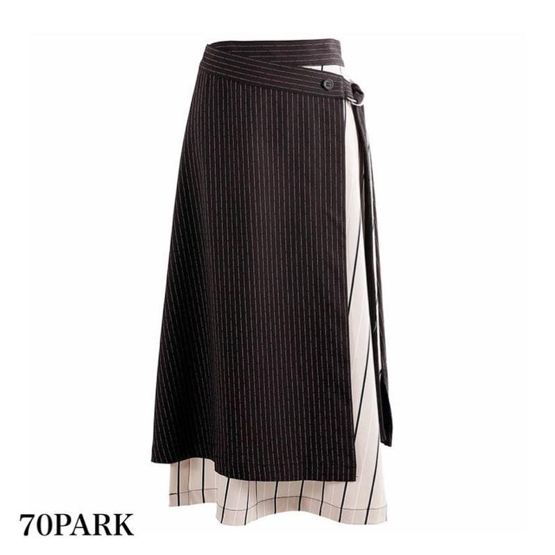 # レイヤード風 ストライプ ミディ丈 スカート ブラック