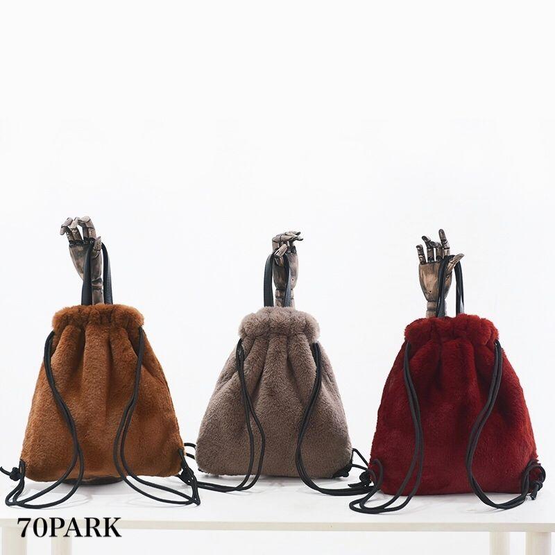 #2Way Faux Fur Backpack  エコファー 巾着 バックパック 全5色  A4収納可 ナップザック