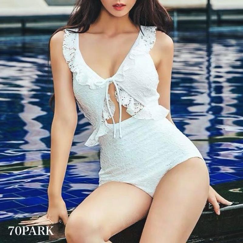 #Lace Ruffle One Piece Swimsuit  レース フリル ガーリー ワンピース 水着 ホワイト