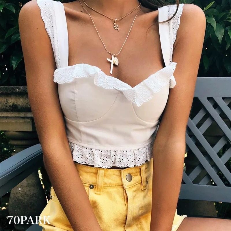 #White Frill Lace Bustier ホワイト レース フリル  ビスチェ クロップトップ