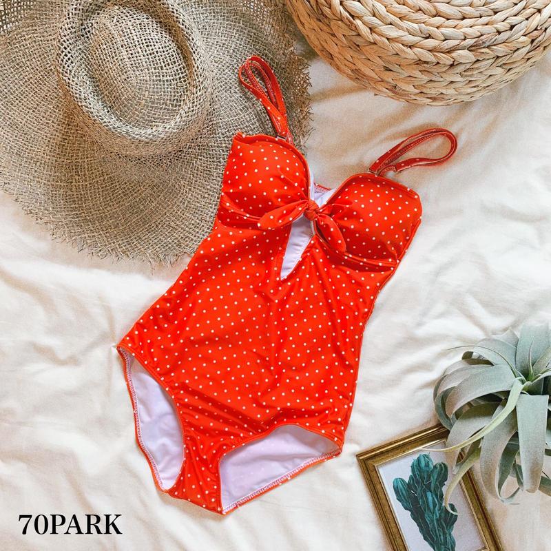 #Polka Dot Swimsuit  ドット柄 フロントカットアウト ワンピース 水着 オレンジ