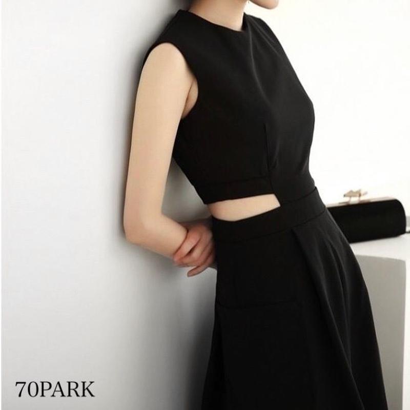 #Side Cutout Long Dress サイドカットアウト ロング ワンピース ブラック パーティー