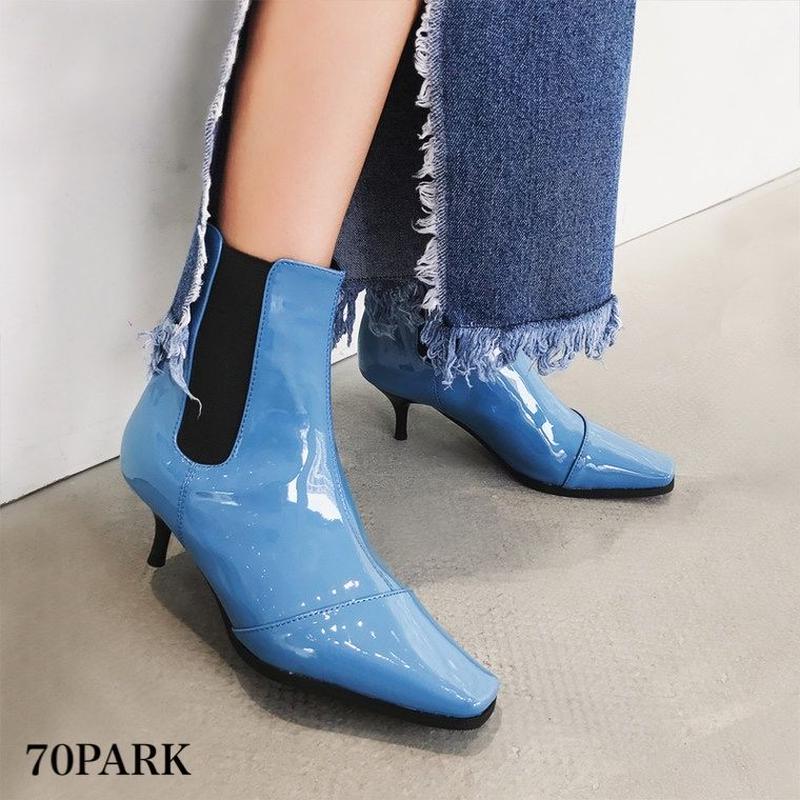 #Faux Patent‐Leather Side gore Boots カラー エナメル サイドゴア 細ヒール アンクルブーツ 全3色