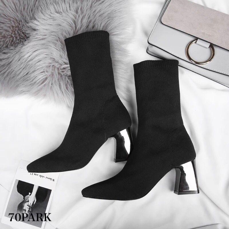 #Silver Metal Heel Sock Boots シルバー メタリック ヒール ソックスブーツ ブラック
