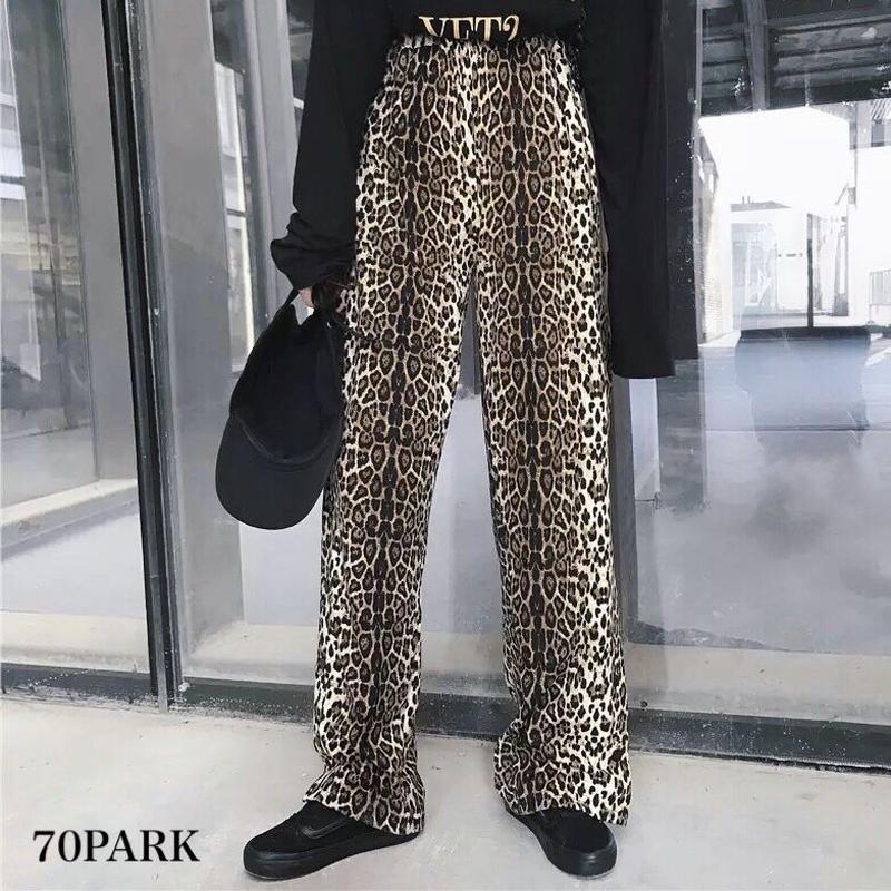 #Leopard Print Side Slit Pants  レオパード柄 サイドスリット ロング パンツ 豹柄