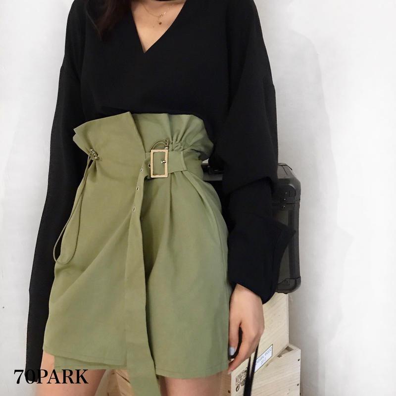 #Khaki High-waisted Wrap Skirt  カーキ ハイウエスト ラップ スカート