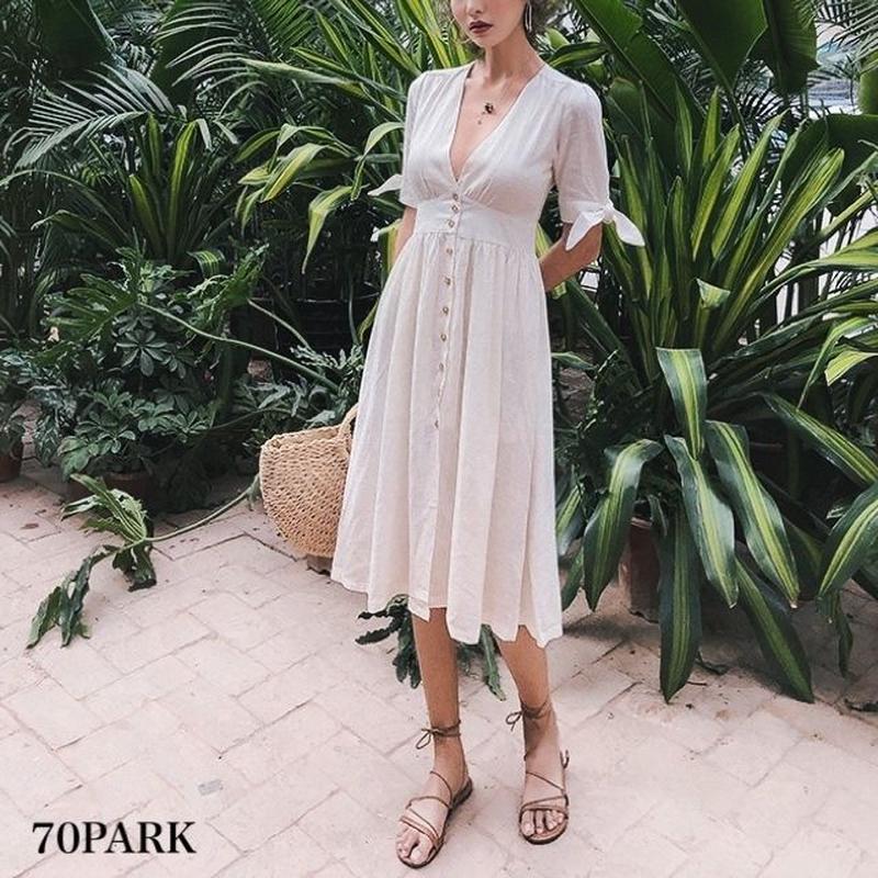 #Linen Button Dress  リネン フロントボタン 袖リボン フレア ワンピース 白