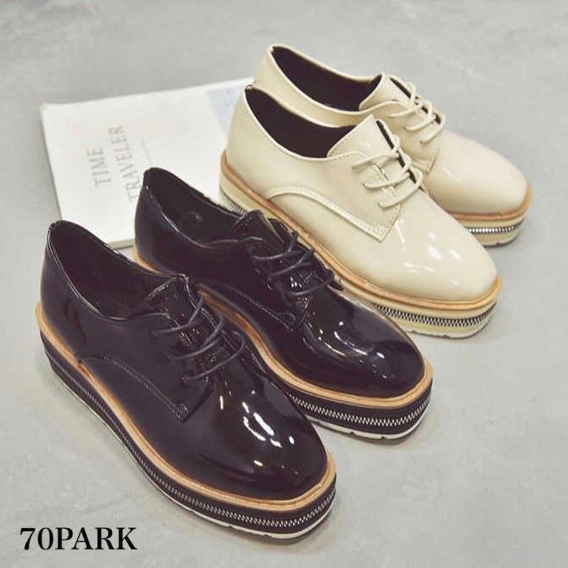 #Faux Patent Leather Platform Shoes  ジッパーデザイン エナメル プラットフォーム 厚底 シューズ 全2色