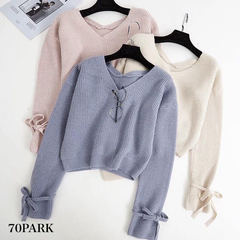 #Vneck Bow Sleeve Loose Knit  袖リボン シンプル Vネック ニット 全4色