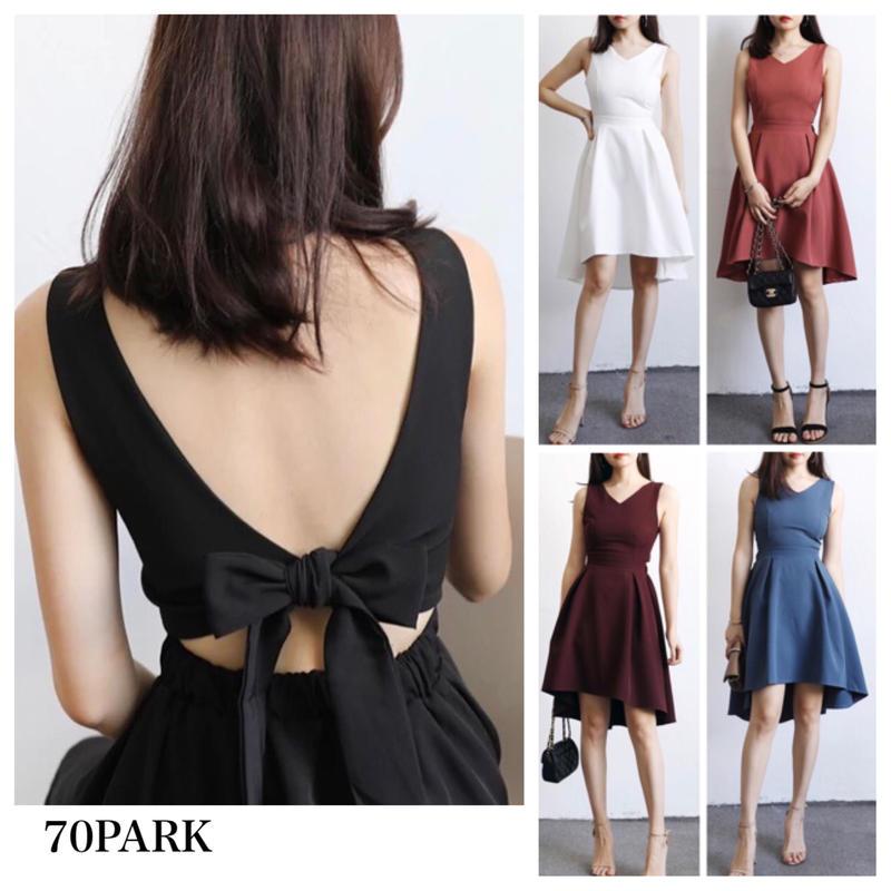 #Open Back Bow Tie Flare Dress バックリボン ノースリーブ フレア ワンピース 全6色  パーティー ドレス