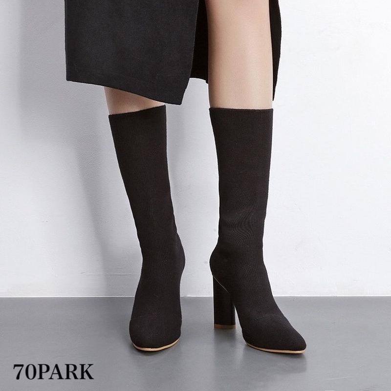 #Mid Calf Sock Boots ミドル丈 太ヒール ニット ソックスブーツ 全2色