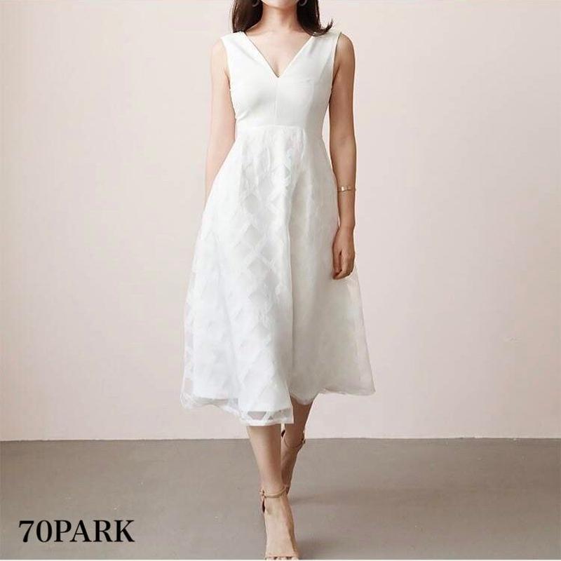 # クロスパターン 切り替え フレア ワンピース 全2色 ドレス