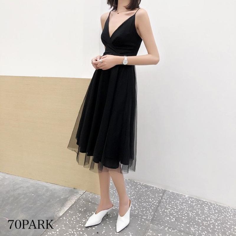 #Tulle Cami Dress キャミ チュール フレア ワンピース 全2色 パーティー