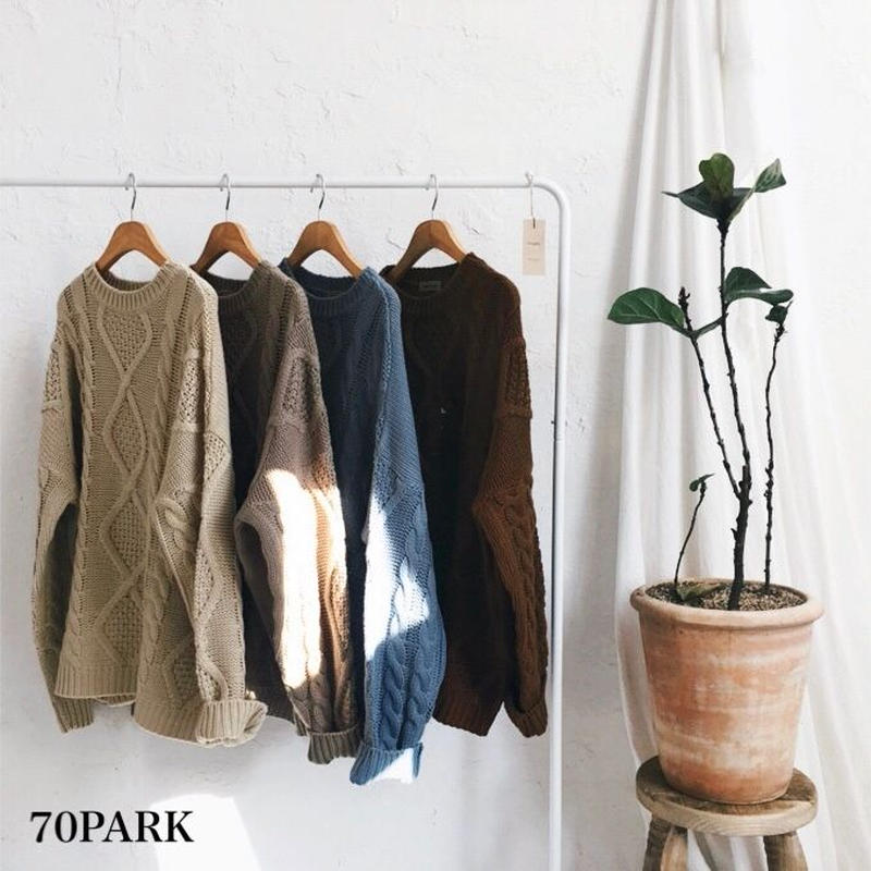 #Low Gauge Cable Knit Sweater ローゲージ ケーブル編み ルーズ ニット 全4色