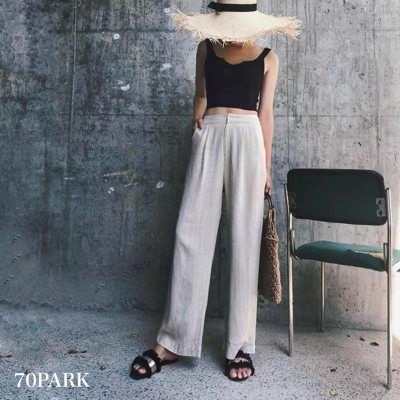 #Linen Wide Leg Pants  リネン ハイウエスト ワイドパンツ  全2色