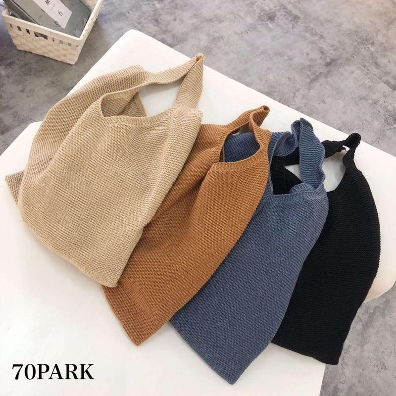 #Knit Tote Bag シンプル ニット トートバッグ 全4色