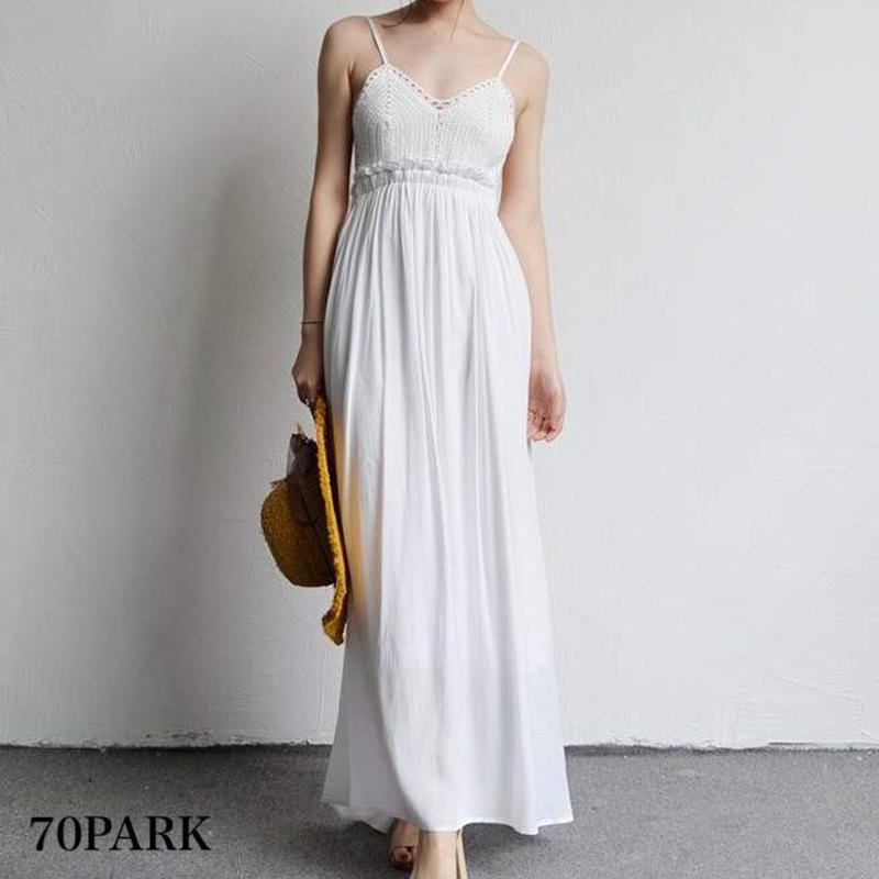 #Backless Crochet Cami Maxi Dress クロシェ 切り替え キャミ マキシ ワンピース 全2色